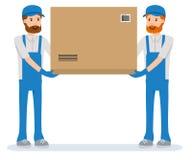 Geïsoleerde pakketverhuizers die op witte achtergrond leveren De pakhuisarbeiders Stock Foto's