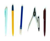 Geïsoleerde pennen en kompassen Stock Foto