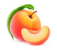 Geïsoleerde perzik of abrikoos Stock Foto