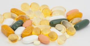 Geïsoleerde pillen Stock Fotografie