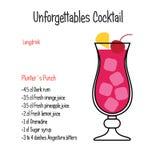 Geïsoleerde recept van de de cocktail vectorillustratie van de Pluntersstempel het alcoholische vector illustratie