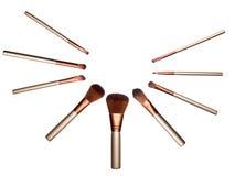 Geïsoleerde reeks bruine zachte kosmetische borstels Stock Foto