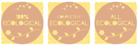 Geïsoleerde reeks ecologische etiketten Royalty-vrije Stock Foto's