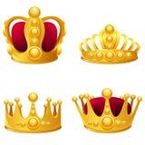 Geïsoleerde reeks gouden kronen Royalty-vrije Stock Foto's