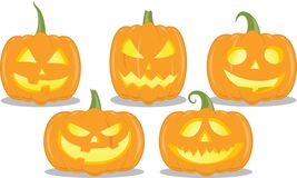 Geïsoleerde reeks Halloween-pompoenen, grappige, boze gezichten stock illustratie