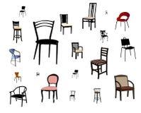 Geïsoleerde reeks stoelen vector illustratie