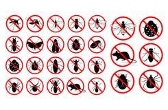 Geïsoleerde reeks van belemmerd insect gemakkelijk zich te wijzigen stock illustratie