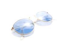 Geïsoleerde retro blauwe ronde zonnebril Royalty-vrije Stock Afbeeldingen