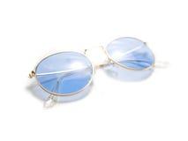 Geïsoleerde retro blauwe ronde zonnebril Stock Afbeeldingen