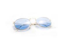 Geïsoleerde retro blauwe ronde zonnebril Stock Foto