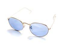 Geïsoleerde retro blauwe ronde zonnebril Royalty-vrije Stock Afbeelding