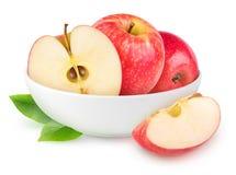 Geïsoleerde rode appelen in een kom Royalty-vrije Stock Foto