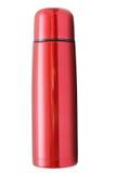 Geïsoleerde rode thermosflessen stock foto's
