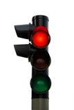 Geïsoleerde rood verkeerslicht Stock Foto