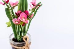 Geïsoleerde roze plastic bloem in het close-up van de glaskruik Stock Afbeelding