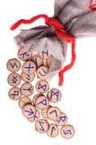 Geïsoleerde runen en zak Royalty-vrije Stock Fotografie
