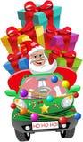 Geïsoleerde Santa Claus Driving Car Xmas Gifts levert vector illustratie
