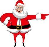 Geïsoleerde Santa Claus Happy Xmas Indicating Direction Stock Fotografie