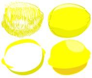Geïsoleerde schets van citroenen Stock Foto's