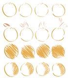 Geïsoleerde schetsen van sinaasappelen Stock Foto's