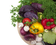 Geïsoleerde schotel met groentenvoedsel Stock Foto's