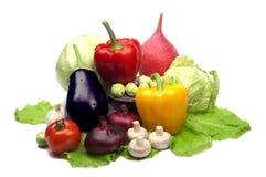 Geïsoleerde schotel met groentenvoedsel Stock Afbeeldingen