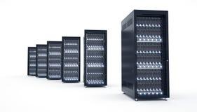 Geïsoleerde Servers in datacenter Wolk de opslag van gegevensverwerkingsgegevens Stock Foto