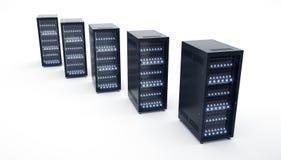 Geïsoleerde Servers in datacenter Wolk de opslag van gegevensverwerkingsgegevens Stock Fotografie