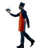 Geïsoleerde silhouet van de mensen het kokende chef-kok Stock Afbeelding