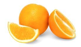 Geïsoleerde Sinaasappelen op een Witte Achtergrond Stock Afbeeldingen
