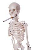 Geïsoleerde skelet rokende sigaret Stock Foto