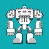 Geïsoleerde slagrobot De toekomst van de Cyborgstrijder Vector Illustratio royalty-vrije illustratie