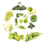 Geïsoleerde spiraal van groene vruchten en groenten, royalty-vrije stock afbeeldingen