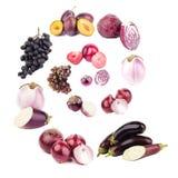 Geïsoleerde spiraal van violette vruchten en groenten, royalty-vrije stock foto's