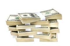 Geïsoleerde Stapels van Geld Stock Foto