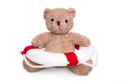 Geïsoleerde teddybeer - concept voor zwemmende cursus. Stock Afbeelding