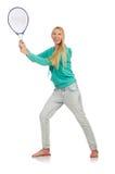 Geïsoleerde tennisspeler Stock Foto's