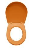 Geïsoleerde toiletzetel - sinaasappel royalty-vrije stock afbeeldingen