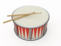 Geïsoleerde trommel en trommelstok twee Royalty-vrije Stock Foto