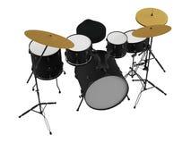 Geïsoleerde trommels. Zwarte trommeluitrusting. Royalty-vrije Stock Afbeeldingen