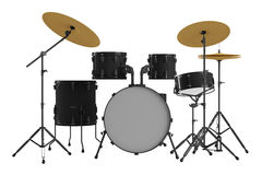 Geïsoleerde trommels. Zwarte trommeluitrusting. Stock Afbeeldingen