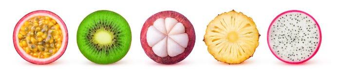 Geïsoleerde tropische fruitplakken Stock Foto's