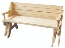 Geïsoleerde tuin houten bank Royalty-vrije Stock Foto