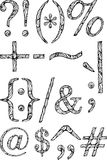 Geïsoleerde typografische symbolen met abstract patroon vector illustratie