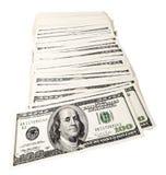 Geïsoleerde 100 US$ Rekeningenstapel Royalty-vrije Stock Afbeeldingen