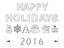 Geïsoleerde vakantie 2016 blauwdruk - Stock Afbeeldingen