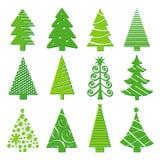 Geïsoleerde Vector van boom de Vrolijke Kerstmis Pictogram Royalty-vrije Stock Afbeelding