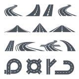 Geïsoleerde vectorbeelden van weg, verschillende wegen en lange weg vector illustratie