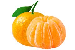 geïsoleerde verse mandarin op witte achtergrond met het knippen van weg Royalty-vrije Stock Fotografie