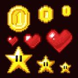 Geïsoleerde videospelletjeactiva met 8 bits Muntstuk, ster en hartpixel retro pictogrammen in verschillende grootte royalty-vrije illustratie